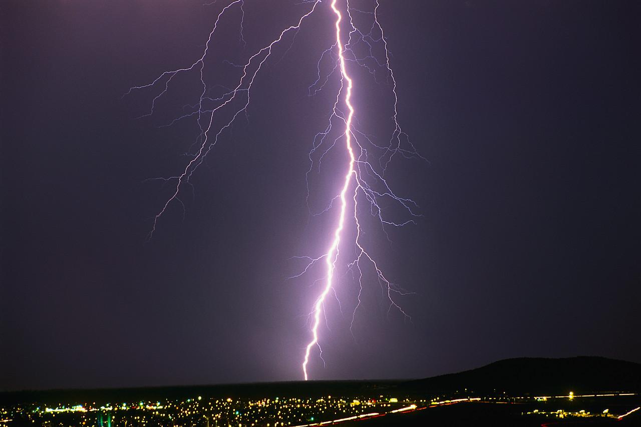 Lightning Bolt Strikes City
