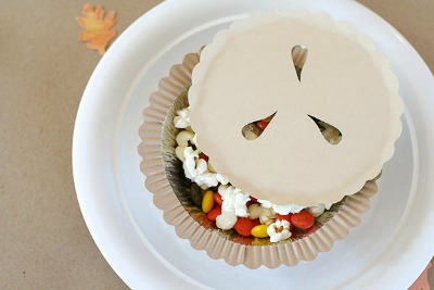 paper pie filled with snacks