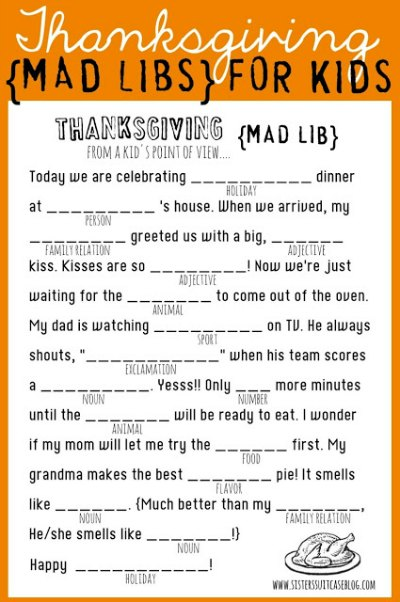 Thanksgiving Mad Libs