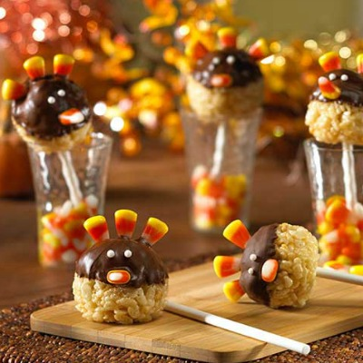 Rice Krispy turkey pop treats